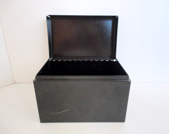 Vintage Metal Index card box- Metal File Box- Industrial decor-  1960s Office Storage-  Art supplies - Black Index card box