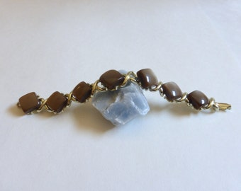 Vintage 1950's Brown Thermo Set Plastic Diamond and Gold Link Bracelet