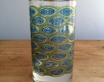 Four Vintage Blue and Green Swirl Mid Century Modern Drinking Glasses