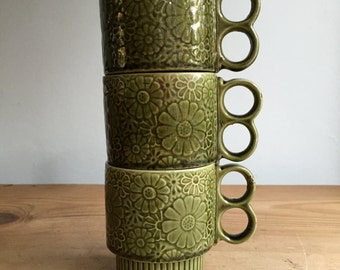3 Vintage Green Made in Japan Stackable Mugs