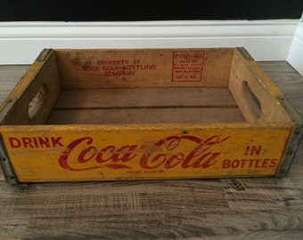 Rare (#37) Vintage 1969 Yellow Coke Coca Cola Wood Soda Crate Case Alexandria, Minnesota