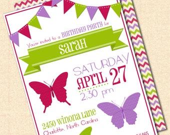 DIY Printable Butterfly Invitation - Pink, Purple, Green - Birthday or Baby Shower - Digital Design