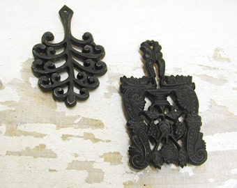 Set of Two Vintage Cast Iron Trivets small mini