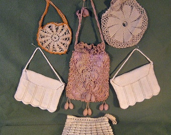 Lot of 6 Antique Crocheted Purses, White and Tan