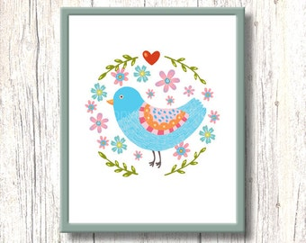 Nursery art print FOLK BIRD blue red heart home decor. Printable handdrawn flowers wall decor. Instant digital download. Colorful whimsical.