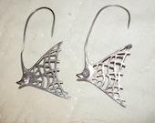 Vintage Fish Earrings, Sterling Silver Pierced Earrings, Figural Angel Fish Pierced Dangling Earrings