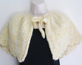 Handknitted vintage light yellow wool little mantle