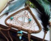 Triangular Dreamcatcher // Handmade Clear Quartz Turquoise Vegan Suede
