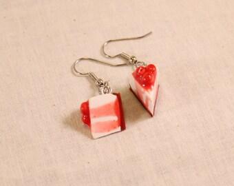 Cherry Cheesecake Earrings Polymer Clay Food Jewelry