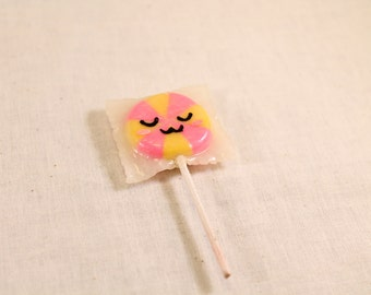 Silly Face Lollipop Charm Yellow and Pink 8 section Polymer Clay Food Jewelry