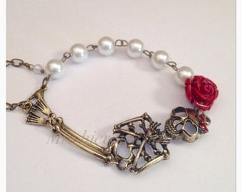 Day of The Dead Lolita Skeleton Red Rose and Pearl Fashion Bracelet