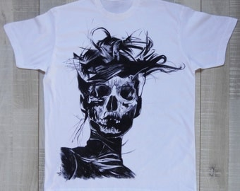 Black and White hand painted skull-Inspired by illustration-100% cotton white tshirt