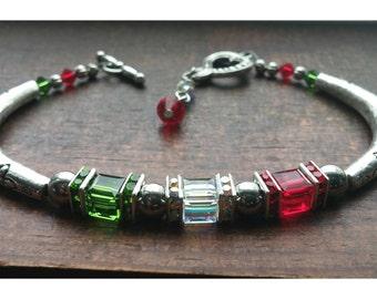 Green White and Red Italian Bracelet