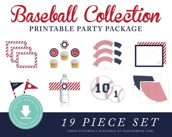 INSTANT DOWNLOAD Baseball Printable Party Package (Baseball Birthday, Baseball Party Instant Download, Baseball Party Printables)