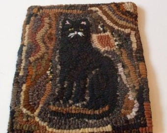 PrimiTive Folkart  Black Cat Hooked Rug  Beaconhillcollect  We Ship Internationally