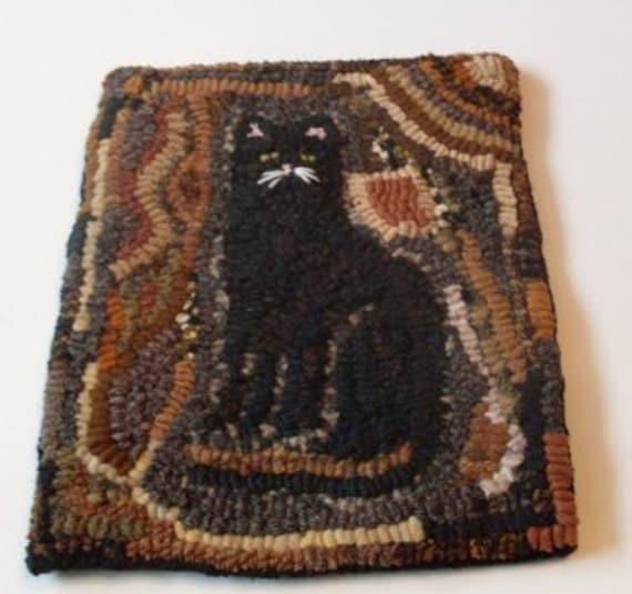 PrimiTive Folkart Black Cat Hooked Rug Beaconhillcollect We
