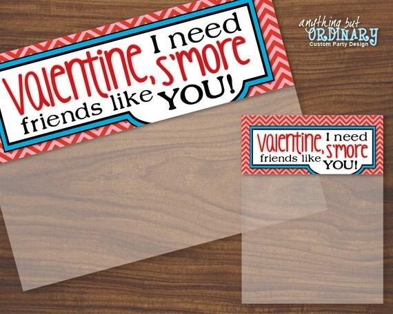 Valentine Smores Bag Topper DIY Labels, Editable Smore Treat Bags ...