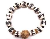 Black and white bone bead tribal bracelet