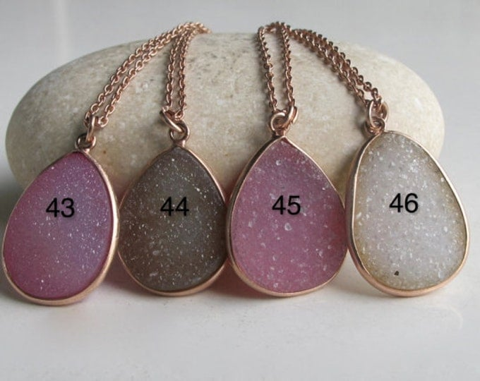Rose Gold Statement Necklace- Druzy Layering Necklace- Sparkly Gemstone Silver Necklace- Classic Everyday Stone Necklace