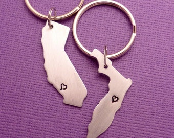 Long Distance Love - A Set of 2 Hand Stamped Aluminum Keychains - READY TO SHIP