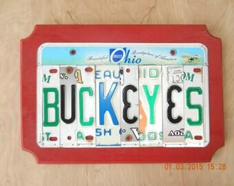 Ohio Buckeyes License Plate Sign  (Ohio State Buckeyes) (Made to Order)