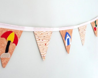 Beach bunting, mini fabric bunting, seaside banner, seasons bunting, summertime banner, sale