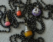 Tibetan Pendant Necklace Pink Stone RepousseeVintage Brass Ball Chain