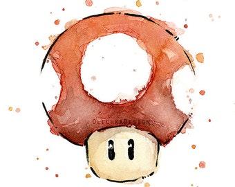 Mario Watercolor Red Mushroom Art Print Mario Mushroom Art Print Geek Wall Art Nintendo Video Game Painting Decor
