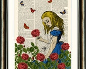 Alice in the Rose Garden Upcycled print on a vintage book page from a late 1800s Dictionary Buy 3 get 1 FREE