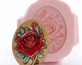 Rose Cameo Silicone Mold - Polymer Clay - Metal Clay - Epoxy Clay - Soap Embed - Wax Melt - Resin - Urethane - Food Safe - Chocolate (542