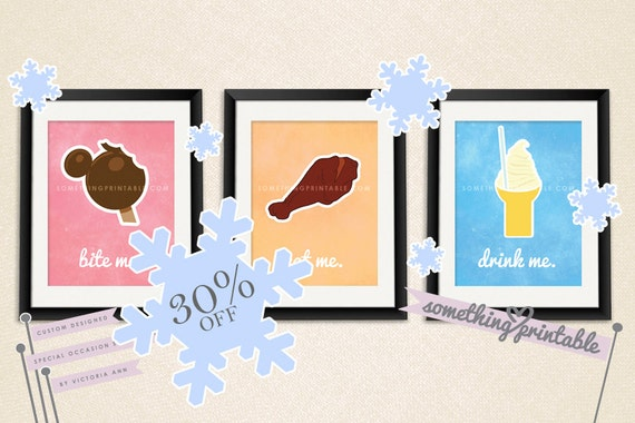 30% Off Sale! DIS Treats - DIY Treat Inspired Printable Wall Art Files (Set of 3)