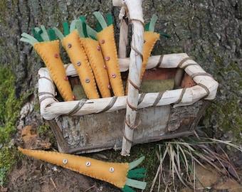 Handmade felt Teacup carrot ornaments-christmas ornaments-kitchen gift-felt ornaments-primitive decor