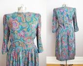 Vintage 80s Dress Boho Dress Pockets Button Back Pink Turquoise Red / Medium