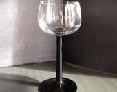 Set of 7 Black Stem Wine Glass,Mid Century Wine Glasses,Black Stem Hock Wine Glasses, Small Black Stemmed Wine Glasses, Boho Wine Set