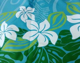 Aqua background with stylized plumeria, monstera leaves