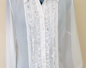 Vintage Romantic Frilly Pleated Sheer White Blouse