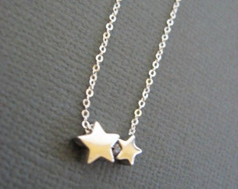 Mother daughter necklace, mother and child necklace, Twinkle twinkle little Star Necklace, Vermeil and 925 Silver star necklace