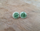 Green Leaf Imprint Stud Earrings