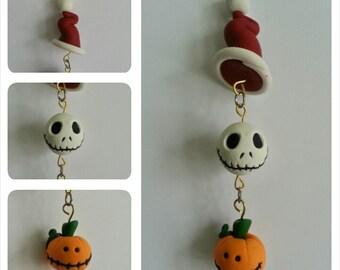 Santa Jack Christmas Dangle Ornament- Handmade Clay Holiday Ornament