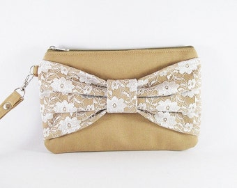 SUPER SALE - Tan Lace Bow Clutch - Bridal Clutches, Bridesmaid Wristlet, Wedding Gift, Cosmetic Bag, Zipper Pouch - Made To Order