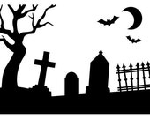 GRAVEYARD - HALLOWEEN EMBOSSING FoLDER- A2 Size - by Darice -  BaCK In STOcK and SHIPPiNG