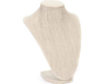 """JEWELRY DISPLaY NeCKLACE STAnD - 9"""" tall - PLAIN LINEN FABRICs  - Can be Customized"""