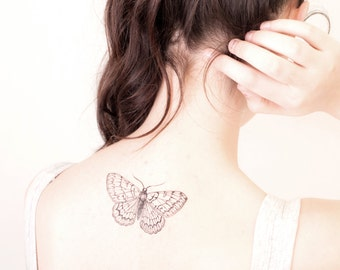 Moth temporary tattoo - butterfly tattoo -choose your size - tattoo, night, transformation