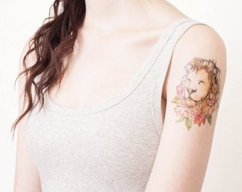 Lion Temporary Tattoo  - Lion Tattoo - Floral Lion Temporary Tattoo - Lion