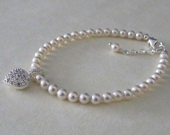 Pearl Bracelet - Sterling Silver, Swarovski Elements Pearl with a  Cubic Zirconia Heart Charm