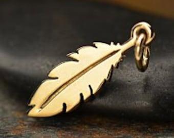 Bronze Feather Charm, Feather Charm, Bronze Feather Necklace Charm, Bronze Feather, Bird Feather Charm, Bird Charm