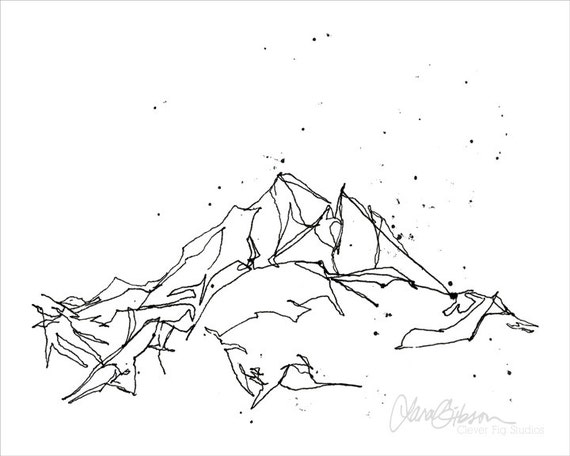 Line Drawing Poster : Mountain line drawing print winter snow by