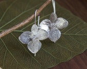 Cape Cod Endless Summer Sterling Silver Hydrangea Blossom Earrings with 3mm Zirconia