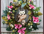 Large Pink Tulip Magnolia Momma and baby Owls Spring Wreath, Jane Magnolia, Dogwood, brown feather owl, Rustic Summer