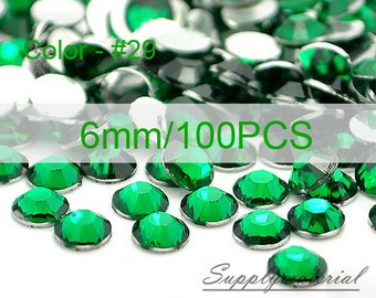 6mm/100pcs Dark Green color Flatback Rhinestone Crystal accessories material supplies